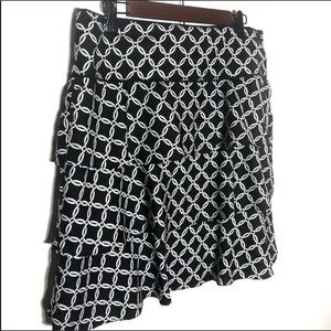 WHBM Black Chainlink Tiered Layered Skirt